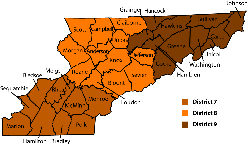 East Tennessee Districts and Counties